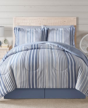 Sunham Fairfield Square Coastal Hampton Blue 8Pc Full Comforter Set Bedding