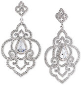 Carolee Silver-Tone Blue and Clear Crystal Openwork Drop Earrings