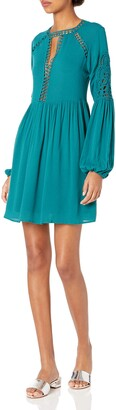 Taylor & Sage Women's Keyhole Front Long Sleeve Dress with Crochet Trim