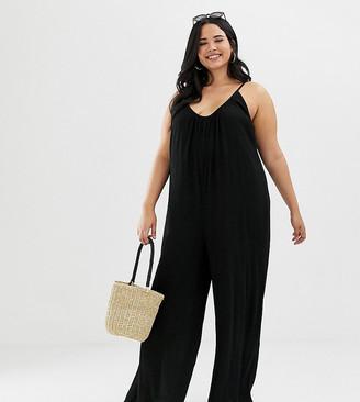 Asos DESIGN Curve low back jumpsuit in crinkle-Black