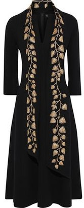 Oscar de la Renta Metallic Embroidered Wool-blend Crepe Midi Dress