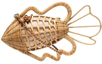 Aranaz Pesca raffia clutch bag