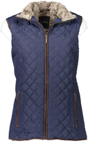 Weatherproof Dark Denim Faux Fur Quilted Vest - Plus