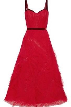 Marchesa Velvet-trimmed Pleated Tulle Gown