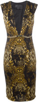 Philipp Plein printed plunge dress - women - Spandex/Elastane/Cupro - S