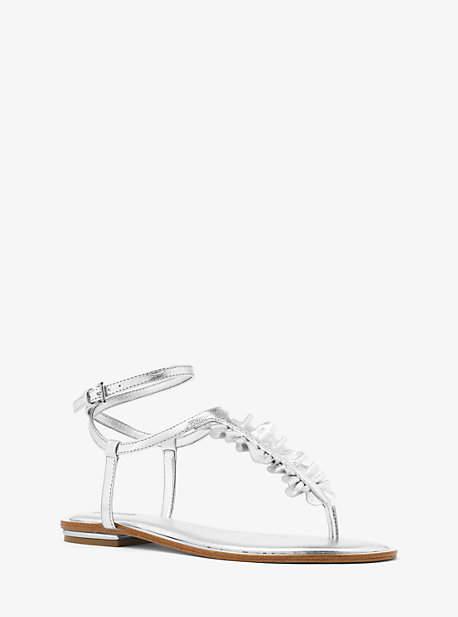 Michael Kors Bella Ruffled Metallic Leather Sandal