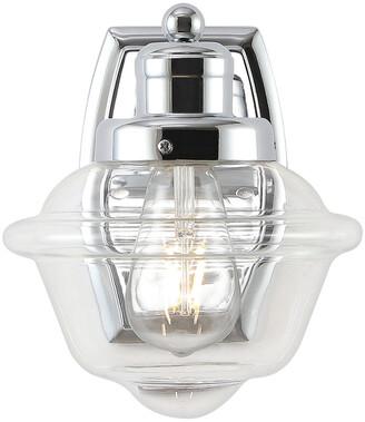 Jonathan Y Designs Orleans 7In 1-Light Iron/Glass Schoolhouse Led Vanity Light