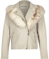 River Island Girls grey faux fur collar biker jacket