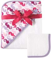 Hudson Baby Print Woven Hooded Towel and Washcloth, Girl, Seahorse Print by