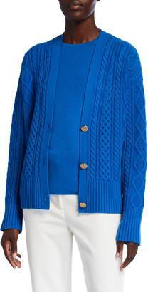 St. John Galway Cable Knit V-Neck Drop Shoulder Cardigan