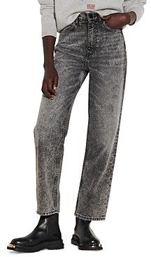 Sandro Lone Acid Washed Straight Leg Jeans in Black