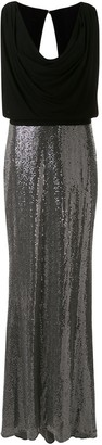Badgley Mischka Cowl Neck Embellished Dress