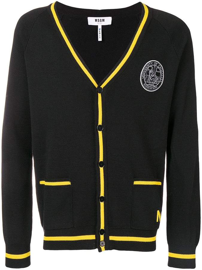 MSGM University of Casuality patch cardigan