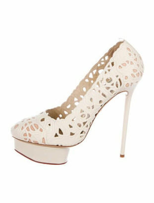 Charlotte Olympia Scribble Dolores Leather Pumps