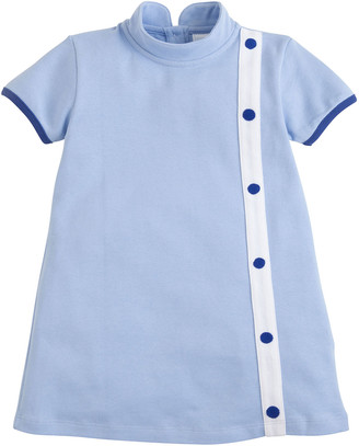 Little English Girl's Golightly Button-Front Turtleneck Dress, Size 2T-8