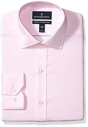Buttoned Down Tailored Fit Spread Collar Solid Non-Iron Dress Shirt, Light Pink/No Pockets, 16 Inches Neck 34 Inches Sleeve