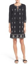 Petite Women's Caslon Three-Quarter Sleeve Embroidered Shift Dress