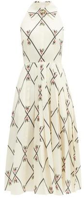 Emilia Wickstead Alvia Diamond-print Pleated Crepe Dress - White Multi