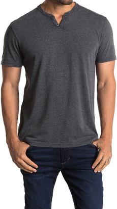 Lucky Brand Edge Wash Short Sleeve 2 Button Notch T-Shirt