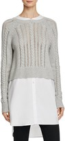 French Connection Crochet Cable-Knit Layered-Look Sweater