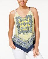 Amy Byer Juniors' Scarf-Print Handkerchief-Hem Cami Top