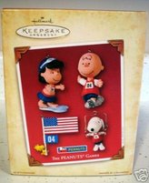 Hallmark Keepsake Ornament - The Peanuts Games (Set of 4) Snoopy, Woodstock, Charlie Brown and Lucy - QXI8691