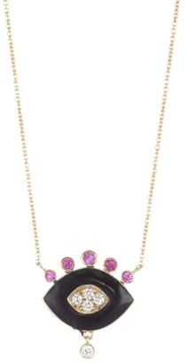 Nayla Arida 18K Yellow Gold Black Enamel, Pink Sapphire & White Diamonds Eye Pendant Necklace