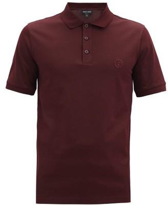 Giorgio Armani Logo-embroidered Cotton-blend Pique Polo Shirt - Burgundy