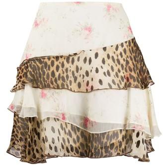 R 13 Palef multi-print ruffle mini skirt