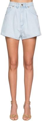 Alberta Ferretti High Waist Cotton Denim Shorts