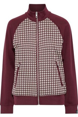 Rag & Bone Mari Stretch-jersey And Houndstooth Jacquard-knit Track Jacket