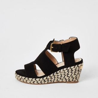 River Island Girls Black strappy wedge sandals