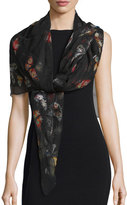 Alexander McQueen Bejeweled Butterfly Voile Scarf, Black/Red
