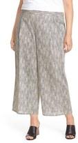 Eileen Fisher Plus Size Women's Print Organic Cotton Wide Leg Crop Pants