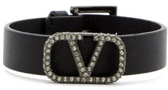 Valentino Crystal-embellished Monogram Leather Bracelet - Black