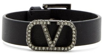 Valentino Crystal-embellished Monogram Leather Bracelet - Womens - Black