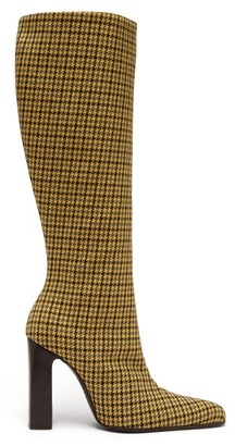 Balenciaga Houndstooth-check Tweed Boots - Womens - Yellow Multi