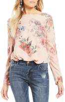 Moa Moa Cozy Floral Printed Knot Front Long Sleeve Top