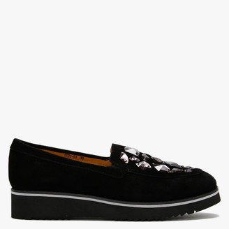 Df By Daniel Irono Black Suede Jewel Embellished Flatform Loafers