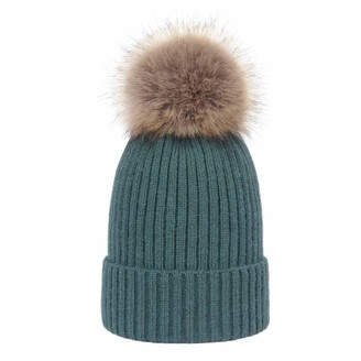 LAUSONS Womens Ribbed Knit Beanie Warm Winter Chunky Faux Fur Bobble Hat with Detachable PomPom Blue