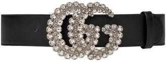 Gucci Black Embellished Gg Logo Belt