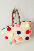 Anthropologie Marrakech Pom Pom Straw Tote Bag