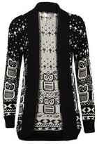 ZJ Clothes Womens Plus Size Drape Aztec Owl Print Knitted Open Cardigan Jumper Top