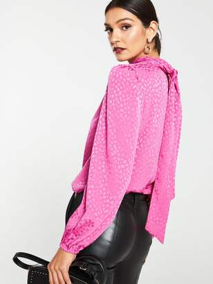 Very JacquardTie Neck Shell Top - Pink