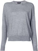 Alexander Wang distressed collar sweatshirt - women - Wool - XS