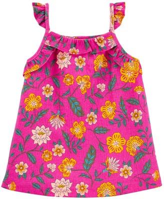 Carter's Girls 4-12 Floral Crinkle Jersey Tank