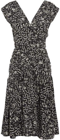 Isabel Marant Glory Ruched Printed Silk-blend Dress - Black
