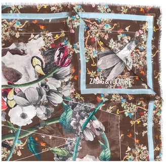 Zadig & Voltaire Floral Print Fringed Scarf