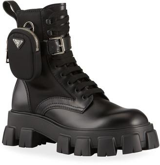 Prada Men's Monolith Leather Zip Pocket Combat Boots