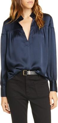 Frame Shirred Hammered Silk Popover Shirt